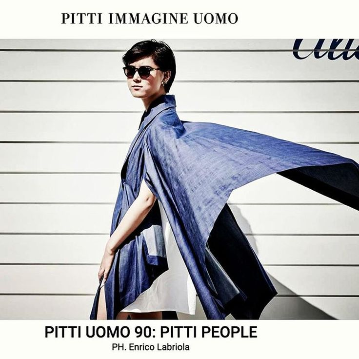 Blogger YiYun Mao in Yojiro Kake origami cape and shirt during Pitti Uomo 90, on Pitti Immagine website Pitti People