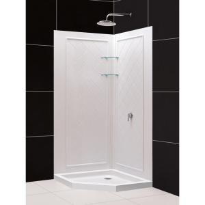 dreamline slimline 36 in x 36 in neoangle shower base in white with backwalls