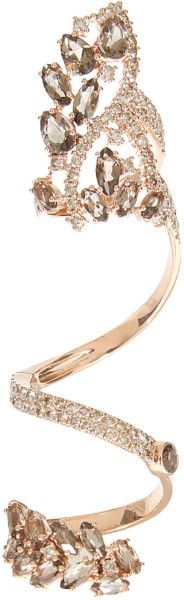 Elise Dray Pink Pink Gold Brown Diamonds and Smoky Quartz Articulated Jaïpur Ring