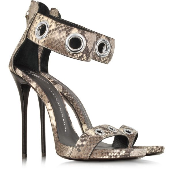Giuseppe Zanotti Python Grommet Ankle-Strap Sandals (3,635 ILS) ❤ liked on Polyvore featuring shoes, sandals, heels, scarpe, stilettos shoes, wide ankle strap sandals, heeled sandals, stiletto heel sandals and wide sandals