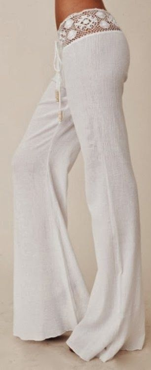 White Plain Lace Spliced Belt Mid-rise Horn Shape Stylish Long Pants