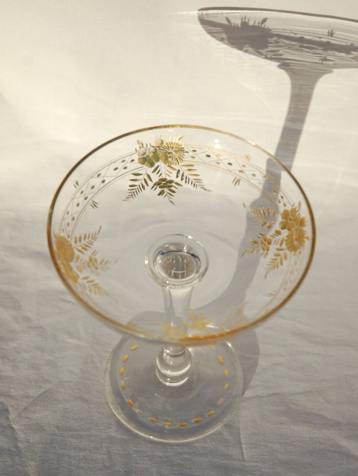 vintage 50s champagne coupe etched with flowers and leaf designs gilded with gold leaf wide. Black Bedroom Furniture Sets. Home Design Ideas