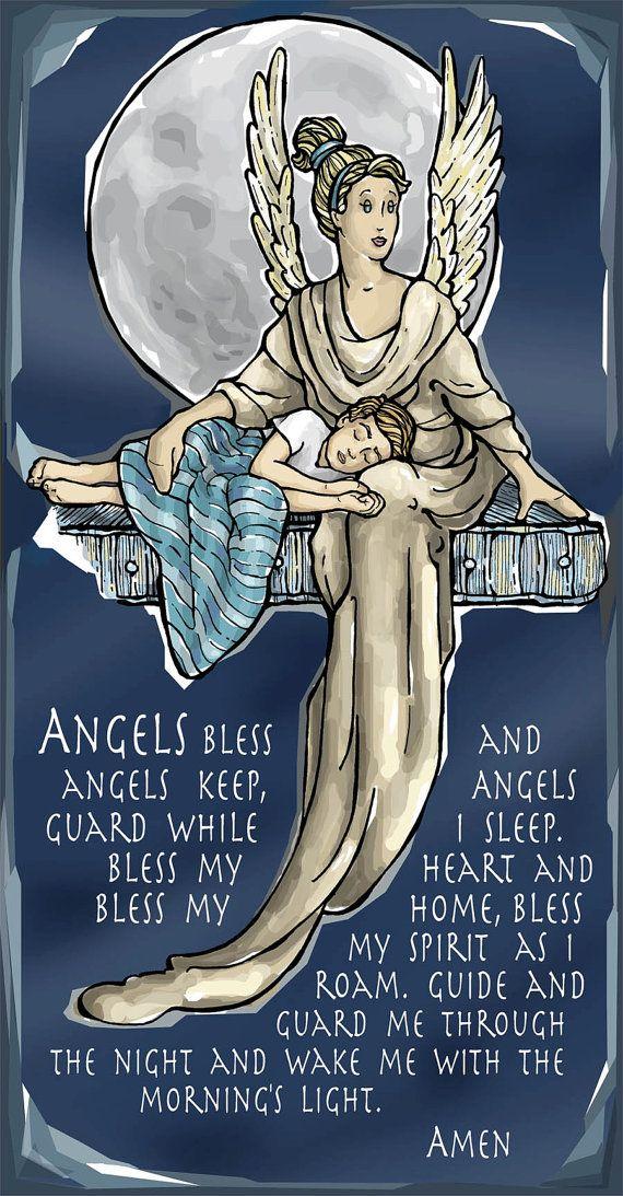 Guardian Angel for Sleep Evening or Nighttime Prayer by ModHMary, $1.75