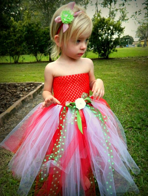 Red, White and Green Christmas Tutu Dress! Comes with matching headband