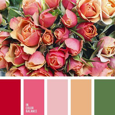 алый, болотно-коричневый, болотный, бордовый, грязный зеленый, зеленый, коричневый, красный, красный и оранжевый, красный и салатовый, оранжевый и красный, оттенки бежевого, оттенки красного, пастельный розовый, розовый, салатово-бежевый цвет,