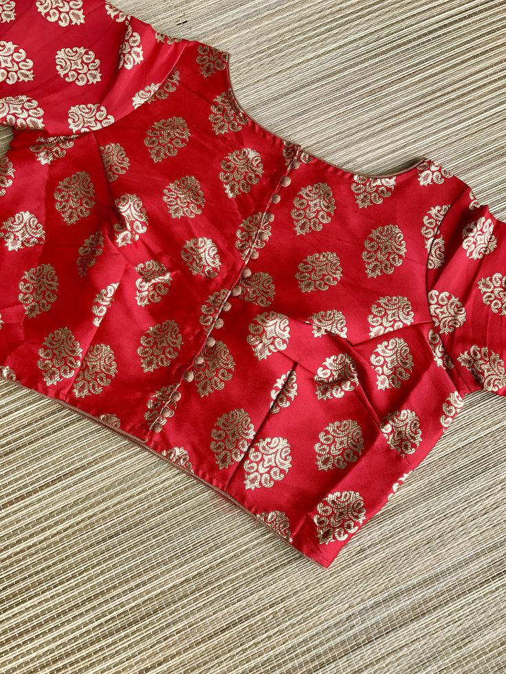 Banarasi Silk Blouse in Red and Gold, Size - 38