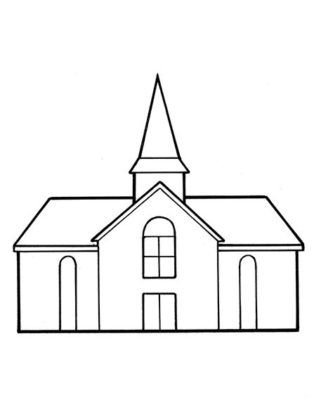 Lesson 42: The Church of Jesus Christ Is on the Earth-Choose the Right A  A line drawing of a meetinghouse