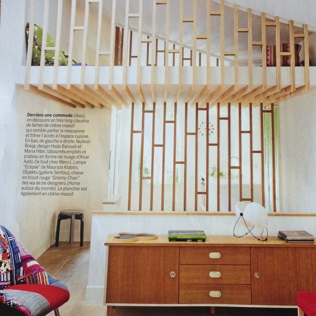 Mezzanine--wood/floor plate edge detail; patterning