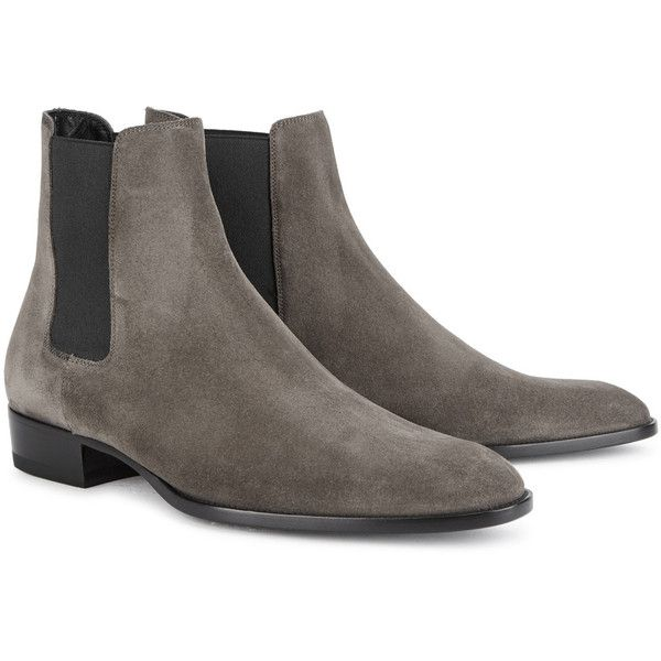 Saint Laurent Wyatt Taupe Suede Chelsea Boots - Size 9 ($950) ❤ liked on Polyvore featuring men's fashion, men's shoes, men's boots, mens suede shoes, leather sole mens shoes, mens suede boots, mens slipon shoes and men's pull on boots
