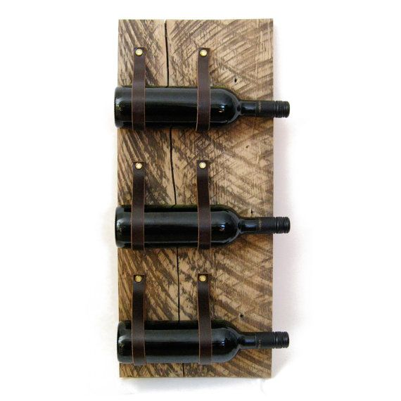 Wine Rack with reclaimed wood and recycled leather 3 Bottle wall bottle holder MWR51