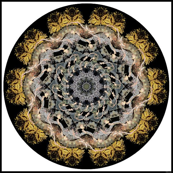 Manitoulin Island Rocks by MSB Lane: The amazing gold, silver, bronze, black, brown and even a lovely pink swirl of the rocks of Manitoulin Island are celebrated in this kaleidoscope mandala.