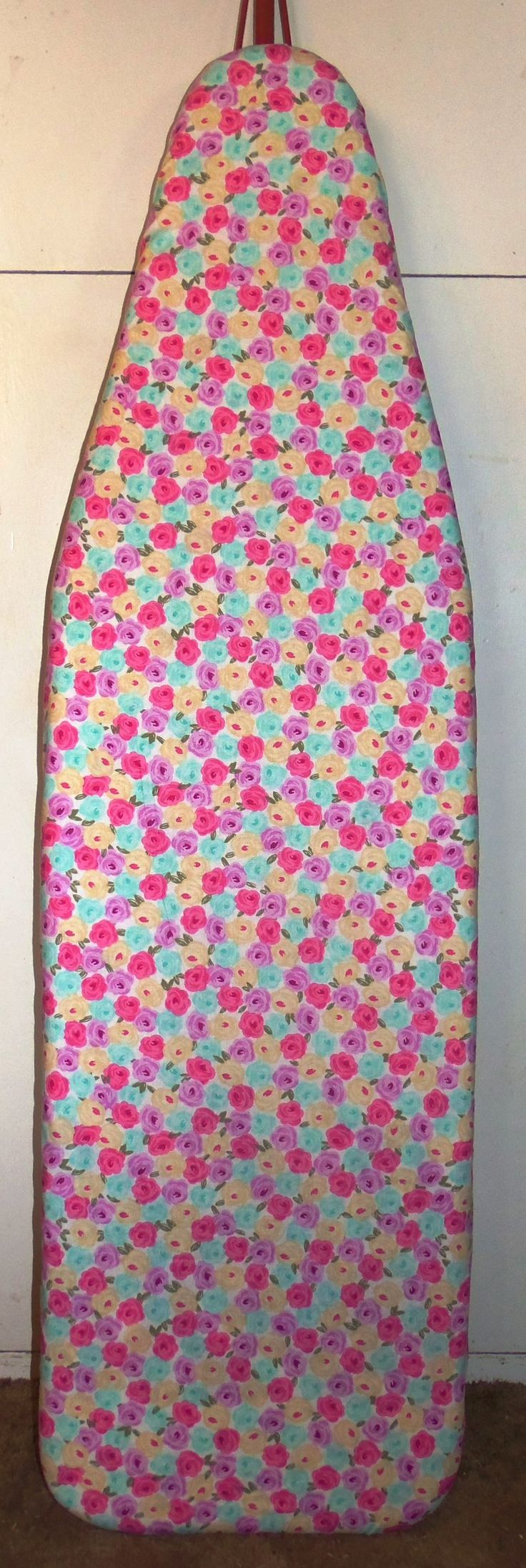 "April Rose  Farmhouse Ironing board cover Nice & Quick way to change the look of your Ironing Board. Great for displaying your antique Ironing Board. Standard board measures 54""x 15"" ~ Our covers measures - 59"" X 19.5"" Made of 100% cotton fabric, Adjustable drawstring for a good fit with 1"" Cord lock double hole, 3 little teeth in each hole to help grip your cord better, for easy on and off and quick adjusting string Machine wash cold - tumble dry low. Handmade in the USA"