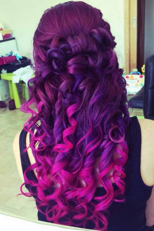Vibrant Purple To Pink Ombre Hair Hair Color Hair