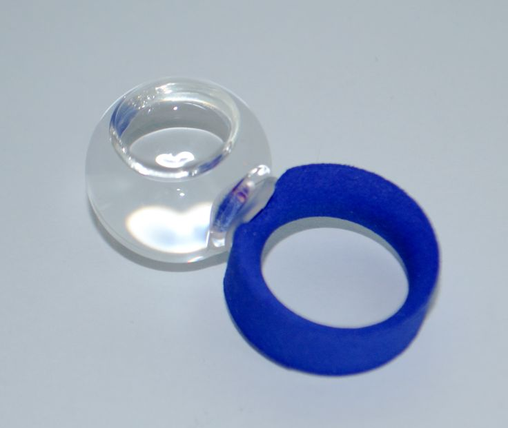 Ring Water Remedies Blu ring in nylon and glass ball with rechargeable water. www.scicche.it