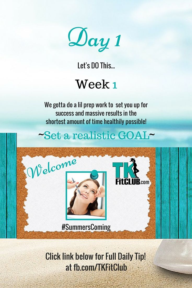 Set A Realistic #Goal TKFitClub Bikini Ready Countdown.#SummersComing #Accountability #fitfam #getfit #weightloss #Challenge #nutrition #eatclean #workouts