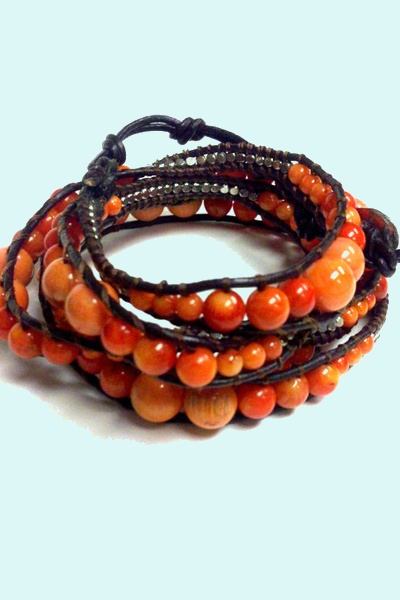 Triple Wrap Coral and Dark Leather Bracelet.