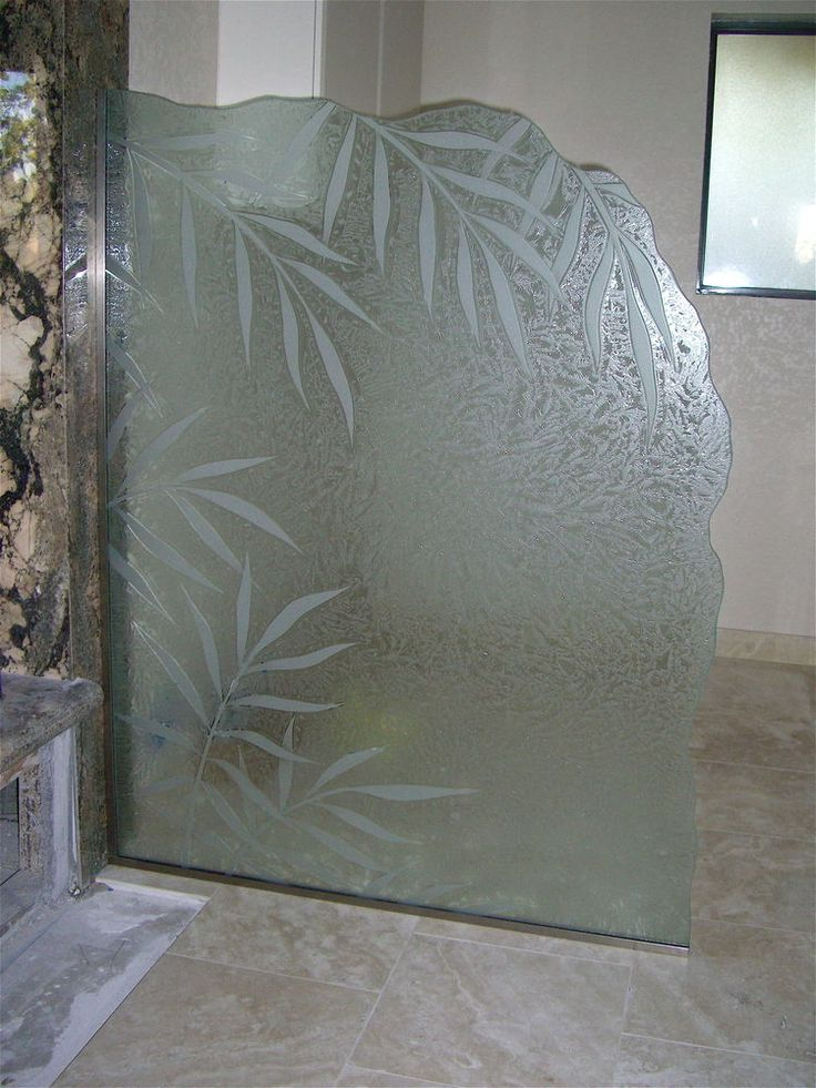 Glass Shower Panels Etched Glass Tropical Design Leafy Branches Ferns Ll  Sans Soucie