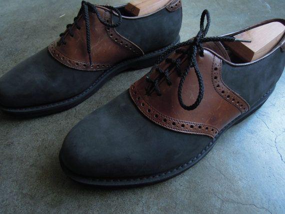 Vtg Florsheim Saddle Shoes Black Suede And Brown Leather