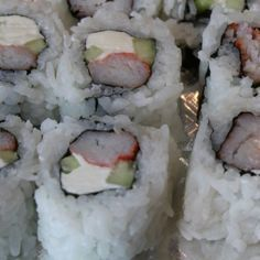 Crab Stick with Cream Cheese and Cucumber Sushi Roll