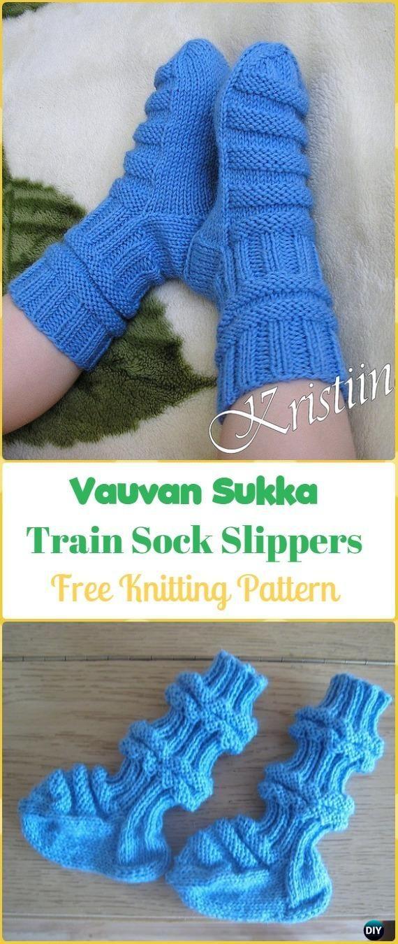 Knit Vauvan Sukka Train Sock Slippers Free Pattern - Knit Slippers Booties Free Patterns