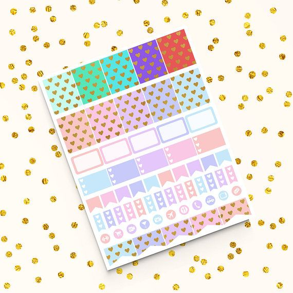 Printable Planner Stickers -  http://etsy.me/2b7T29J This kit includes: 10 Full Box Stickers (ten different patterns) 5 Half Box Stickers With Space For Notes 5 Half Box TO DO Stickers With Heart Pattern 11 Icons (including themes: Shopping, Workout, Health, Fitness, Phone, Email, Meal Planning, Cocktail, Car, Cinema, Travel, Photo, TV) 14 Heart Flags 5 Half Box Flags 10 Small Blank Page Flags
