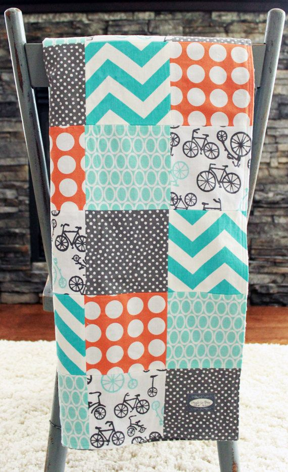 Baby Blanket, Modern Baby Quilt - Orange, Aqua, Grey, Bikes