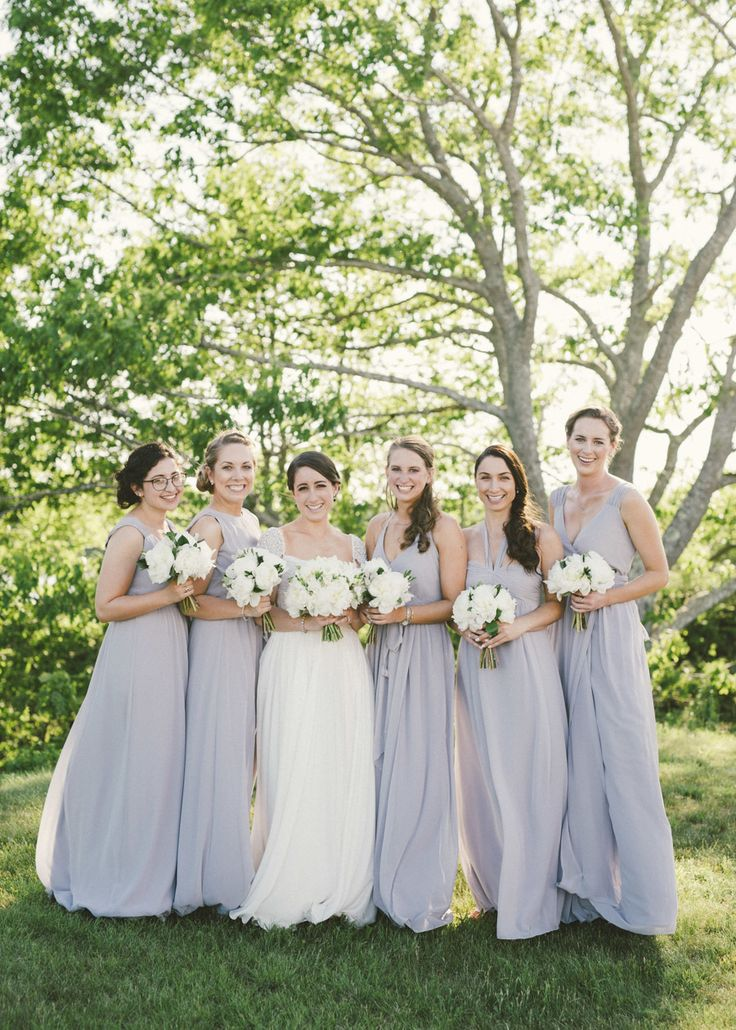 Bridesmaids' dresses: Joanna August - Dove Grey French's Point, Maine Wedding by Christina Grimsley (Event Planning) + Emily Blake Photography