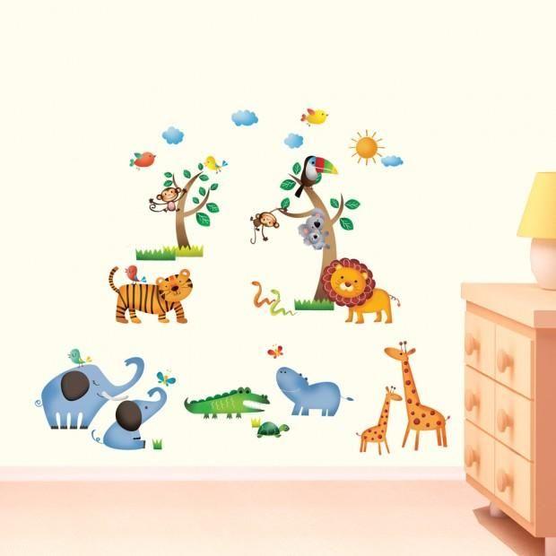 Väggdekor, wallies, stickers, väggdekoration - Äventyr i djungeln