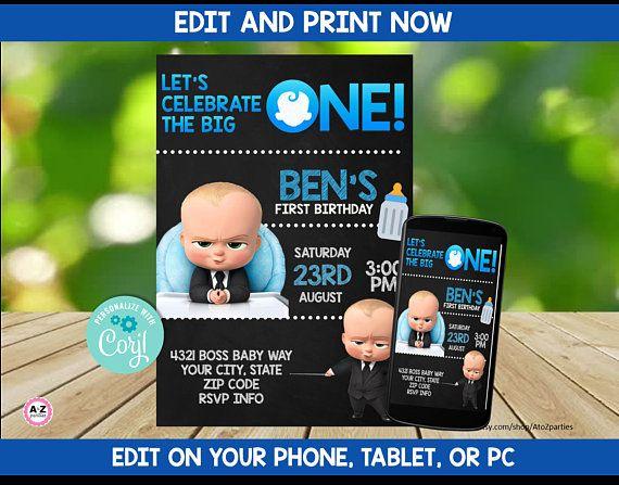 Boss Baby Invitation Boss Baby Editable Invite Print Today Chalkboard Baby Baby Birthday Invitations Baby Party Invitations Baby Birthday Party Invitations