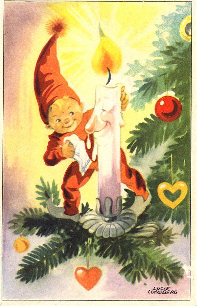 AK Weihnachten - LUCIE LUNDBERG - Wichtel putzt der Kerze die Nase, 1952