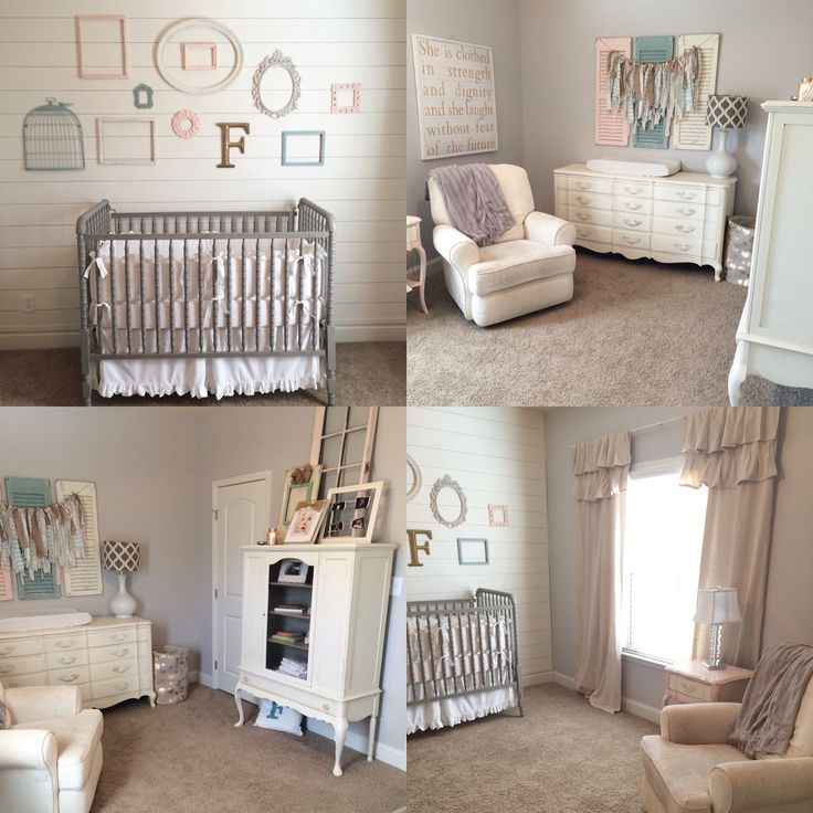 Farmhouse nursery, shiplap, vintage, distressed, shabby chic, old shutters, drop cloth curtains, Jenny Lind, French provincial, duck egg, old white, fabric banner, china cabinet bookcase, pink, gray, blue, baby girl, girl nursery