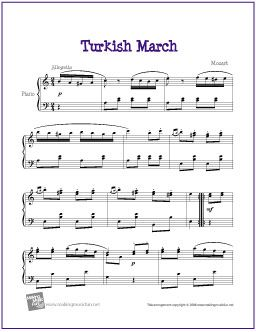 Turkish March (Mozart) | Sheet Music for Piano - http://makingmusicfun.net/htm/f_printit_free_printable_sheet_music/turkish-march-piano-solo.htm