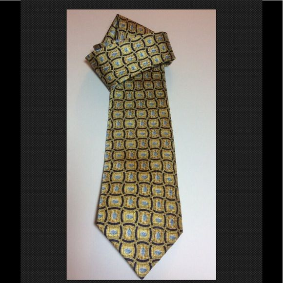 "NWOT Pfizer VIAGRA 100% Silk Tie 3-1/"" x 57"" NWOT Pfizer VIAGRA 100% Silk Tie 3-1/"" x 57"" Great Gag Gift for Dad In pale gold with navy blue in a geometric design with light blue bills.  Great unusual gift for Dad. A boyfriend or ex-ex-husband.   New without tags it was a doctor's promotion item from Pfizer for Viagra.    Made in China of 100% silk.  Please read my seller feedback for feeling of comfort prior to buying Pfizer Other"