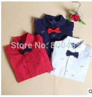 Find More Shirts Information about 2015 Spring new  boy little beard print bow gentleman shirt children blouse 5pcs/lot red navy white,High Quality blouse back,China blouse batik Suppliers, Cheap shirt from Leader international trade company on Aliexpress.com
