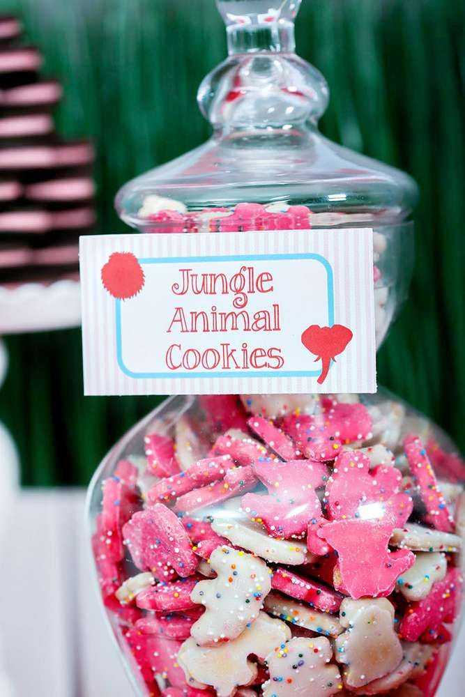 Pink and white animal cookies at a Valentine's Day party! See more party planning ideas at CatchMyParty.com!