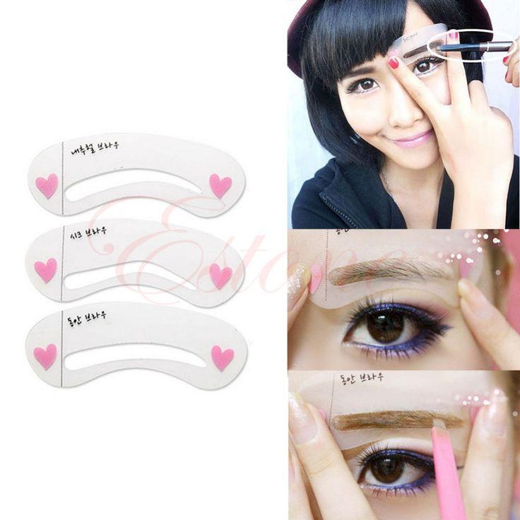 New 3 estilos sobrancelha Stencils classe simples cartão de desenho maquiagem alishoppbrasil