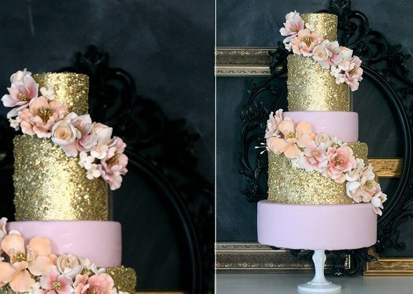 Edible Sequins Wedding Cakes on Cake Geek Magazine. (Gold sequinned wedding cake by The Caketress). See the full collection of sequinned wedding cakes, plus edible sequins tutorials here: http://cakegeek.co.uk/index.php/edible-sequins-for-a-touch-of-sparkle/