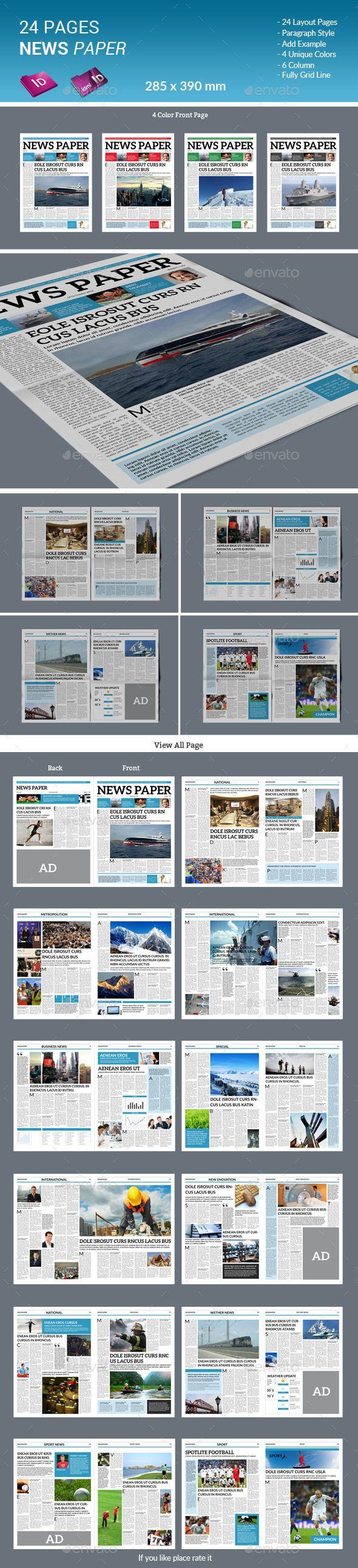 24 páginas de los periódicos - boletines impresos plantillas