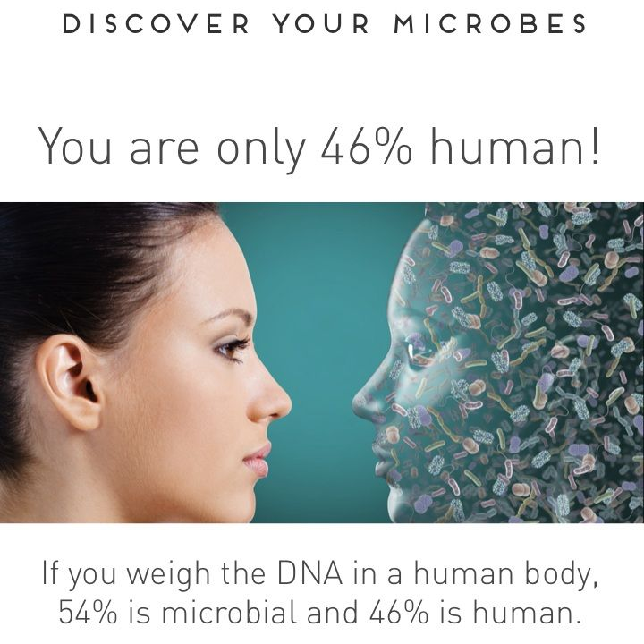 If you weigh the DNA in your body 54% is microbial and 46% is human. Learn more at http://esse.co.za/discover/