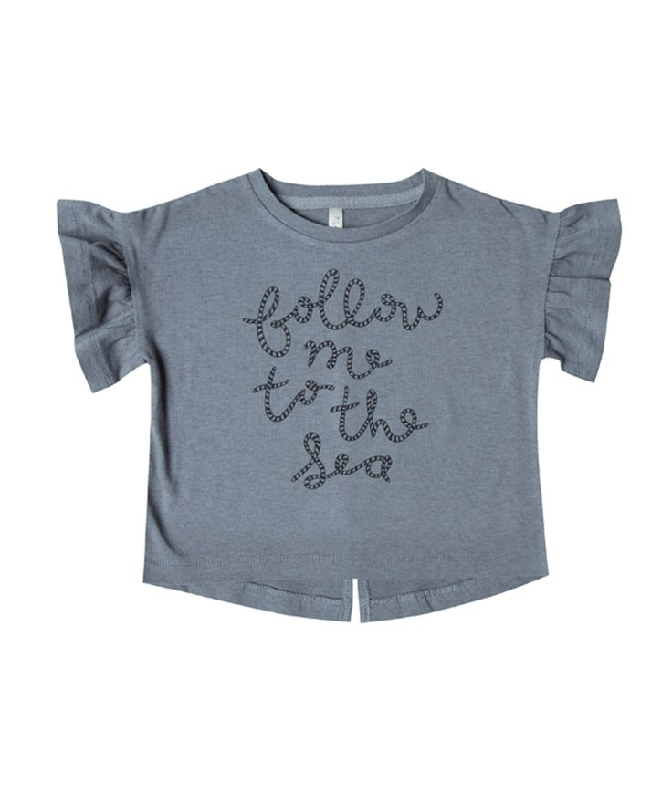 This Stormy Blue jersey tee by Rylee and Cru has a generous boxy cut, and features Rope Font. So cute, with short ruffle sleeves its sure to become a favourite!