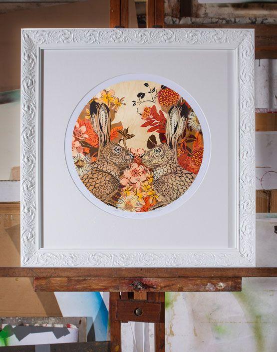AUTUMN BUNNIES DIGI VENEER | Digital Print: A2 $290 Edition of 50 White Ornate Frame w Circular Matt $200 | Flox.co.nz