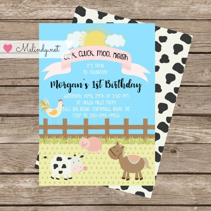Oink, Cluck, Moo, Neigh Cute Farm Birthday Invitation.  Print and Party Animal Birthday! by MelindyDesigns on Etsy