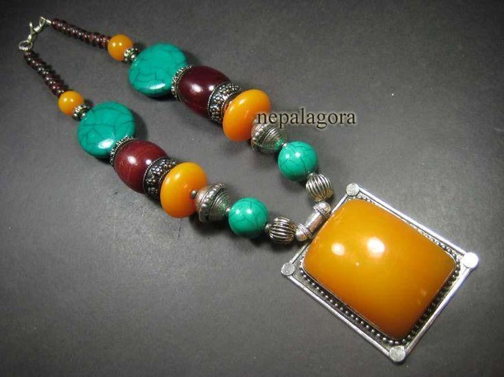 N4473 TIBETAN Fashion Gypsy tribal wood Amber Resin PENDANT handmade Necklace #Handmade #Statement