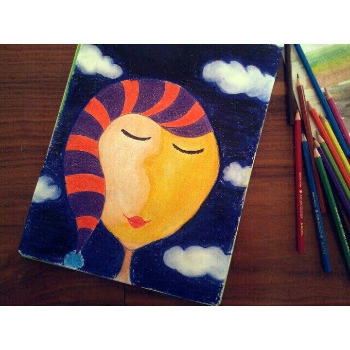 Ay, ay yüzlü, aydede, resim, moon, paint, my work, joy...