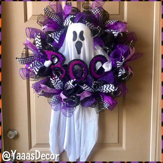 Purple Black Halloween Wreath | Ghost Boo | Ghost Decoration | Halloween Gift | Halloween Door Decor