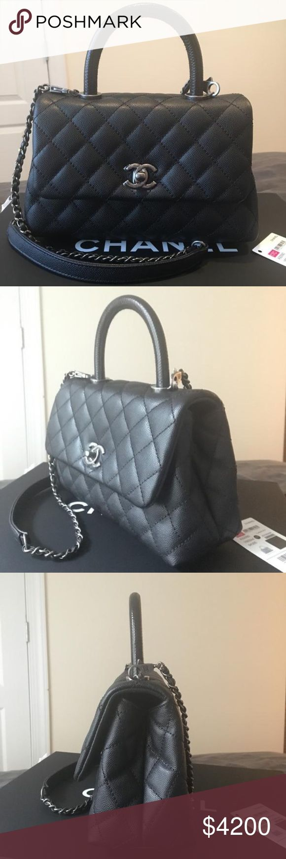 NWT 2017 Chanel Kelly Mini Handbag NWT 2017 17C Black Caviar with lizard handle - Chanel Kelly Classic Bag. Never worn, comes with authenticity card, dustbag, tickets, box. So cute and perfect for everyday, can be worn as top handle or crossbody. Message me for questions. Better pricing on 🅿️🅿️ CHANEL Bags Crossbody Bags