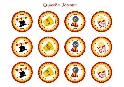 Free Printable Cupcake Toppers for a Circus Party #circusparty  #freeprintables