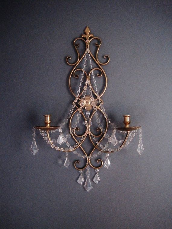 PAIR 2 Double Taper Candle  Wall Sconces by ShabulousChandeliers