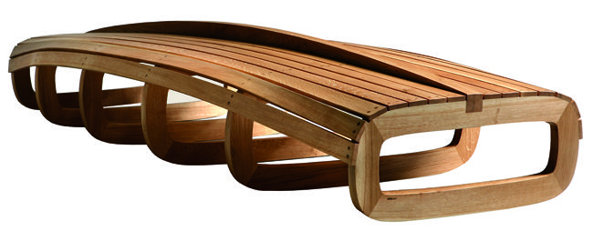"""BARCA, bench made of hand curved solid oak, the shape represents the hull and keel f a boat. Winning project at the """"Significant Furniture"""" competition, edition 2006. by Friso Dijkstra"""