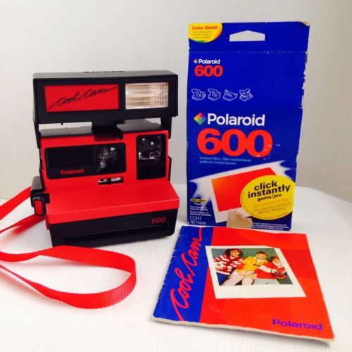 VTG-Polaroid-Camera-600-Cool-Cam-Black-Red-w-SEALED-FILM-Instructions-LOT-WORKS
